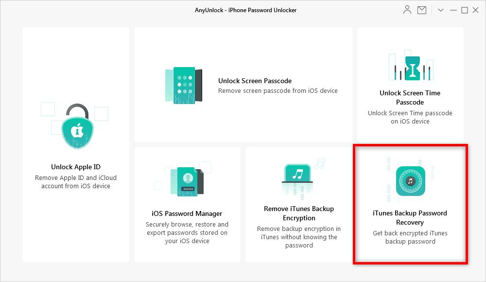 Using AnyUnlock to Decrypt iTunes Backup Passcode