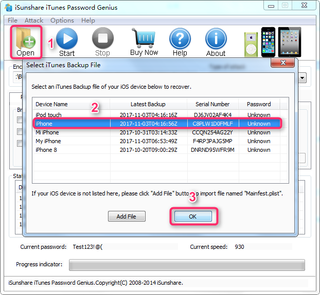 How to Recover Password with iSunShare iTunes Password Genius - Step 1