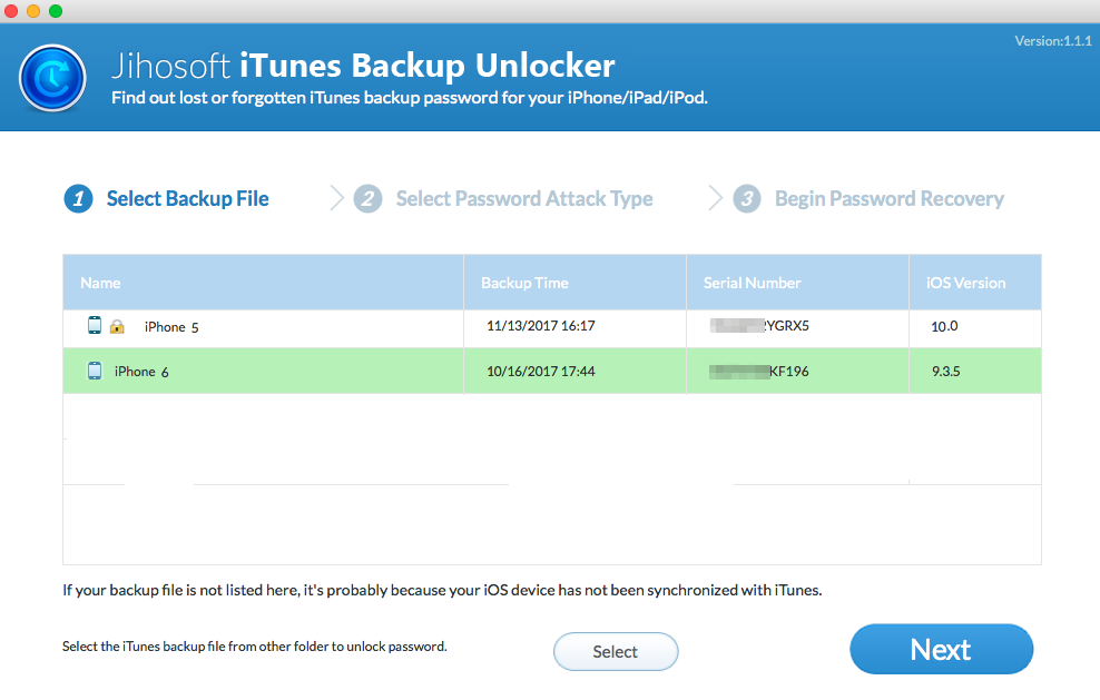 Jihosoft iTunes Backup Unlocker Screenshot