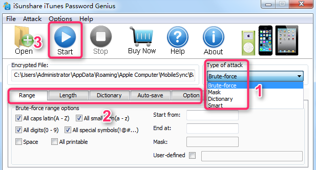How to Recover Password with iSunShare iTunes Password Genius - Step 2