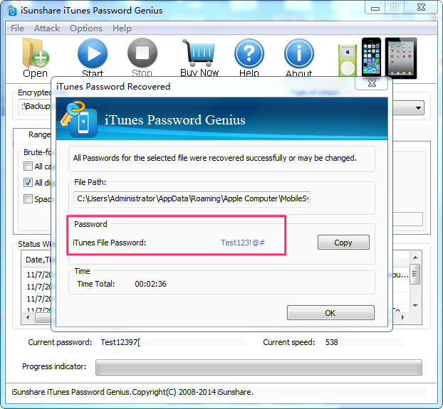 How to Recover Password with iSunShare iTunes Password Genius - Step 3