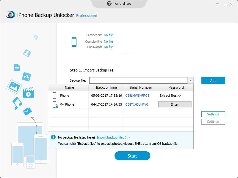 Tenorshare iPhone Backup Unlocker Screenshot