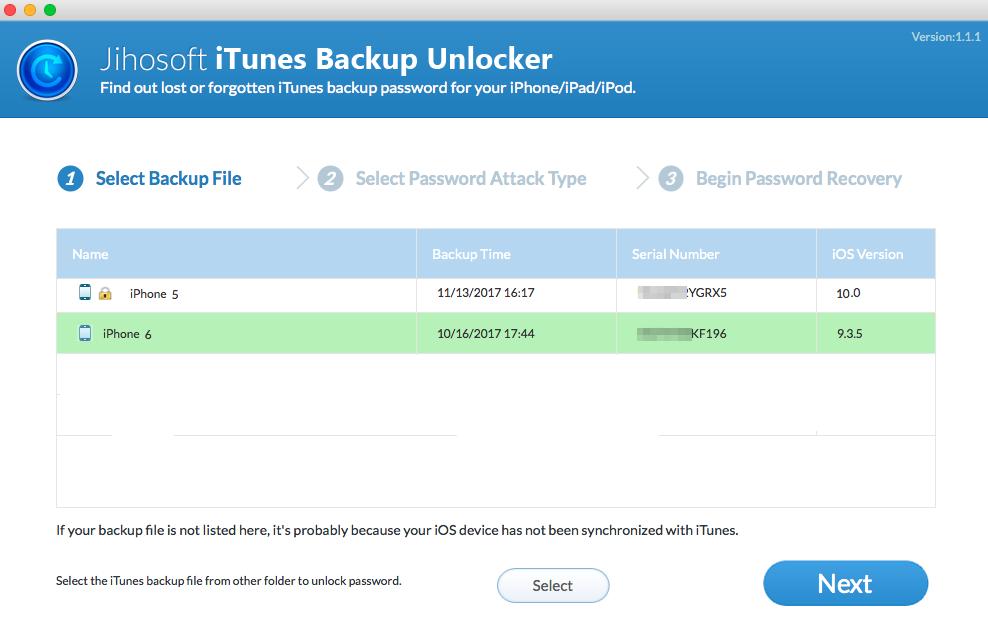 Jihosoft iTunes Backup Unlocker Screenshot