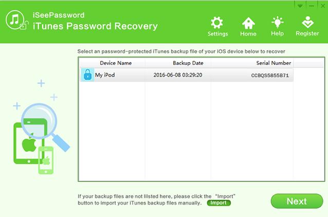 iSeePassword iTunes Password Recovery Screenshot