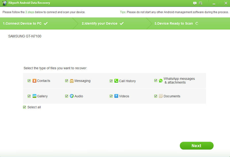 iSkysoft Android Data Recovery Screenshot