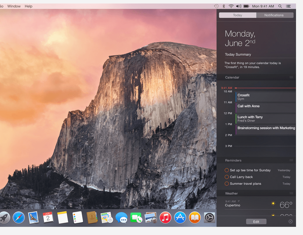Yosemite New Feature – Notification Centre