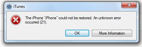 What Causes iTunes Error 21