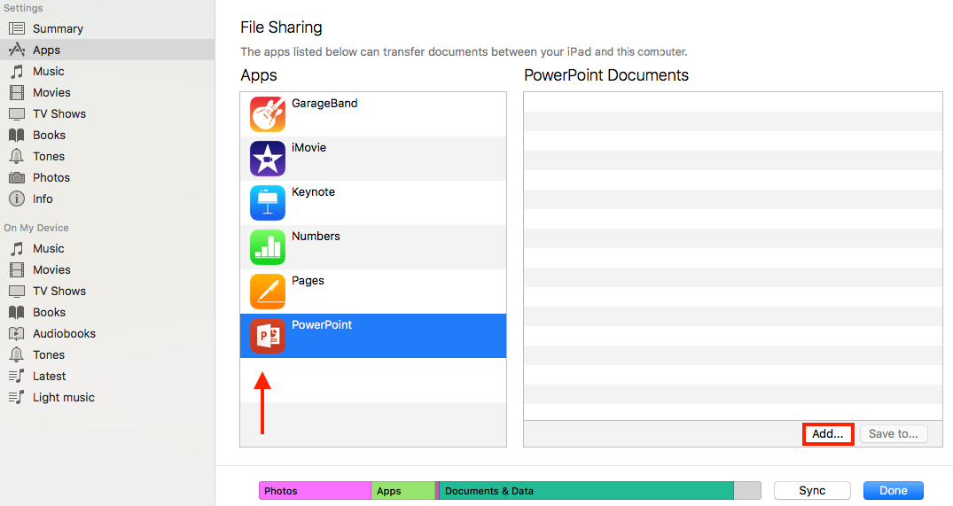 How to Transfer PowerPoint Presentation to iPad via iTunes - Step 1