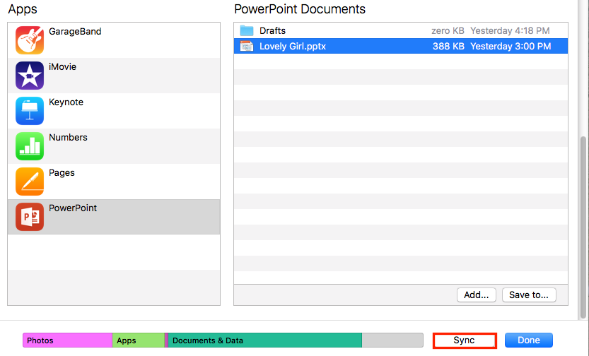 How to Transfer PowerPoint Presentation to iPad via iTunes - Step 3