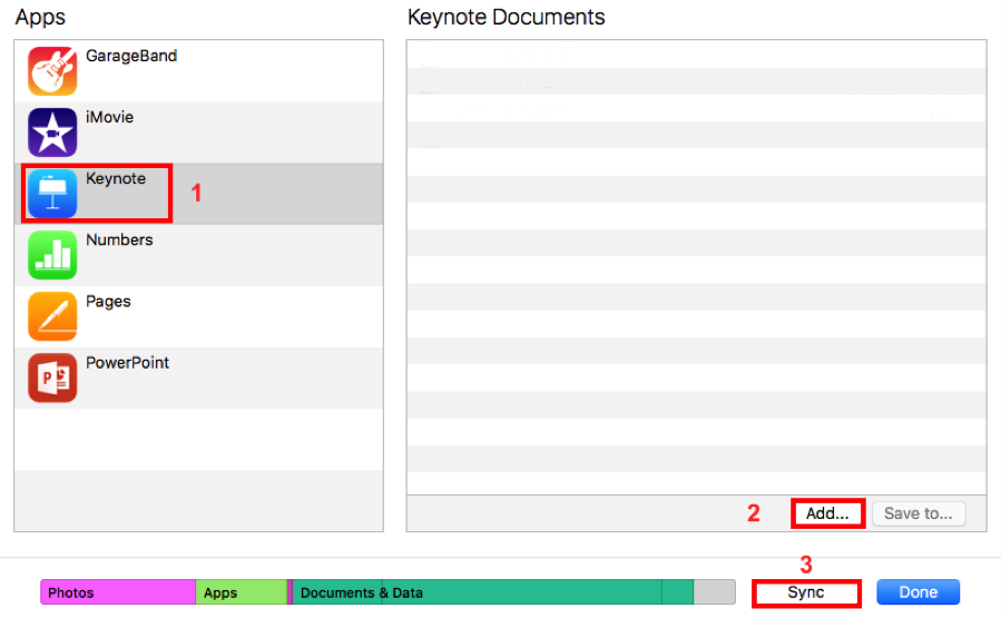 How to Transfer Keynote Presentation to iPad via iTunes - Step 1