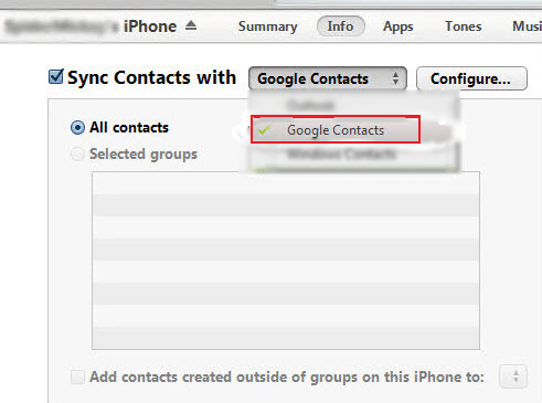 Sync Google Contacts on iTunes