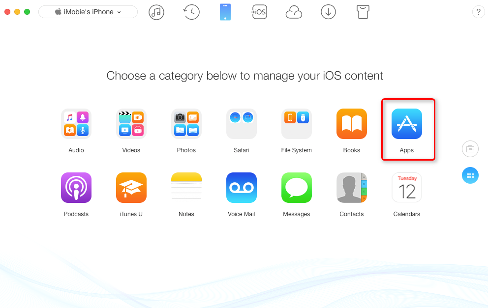 How to Share Apps from iPhone to iPhone with AnyTrans – Step 3