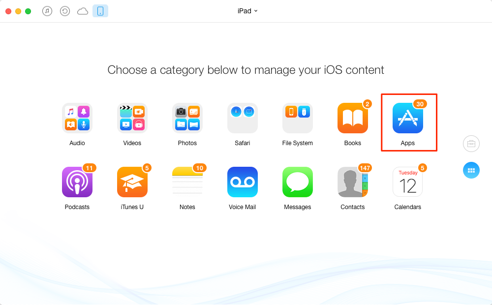 How to Transfer Apps from Old iPad to New iPad with AnyTrans - Step 2