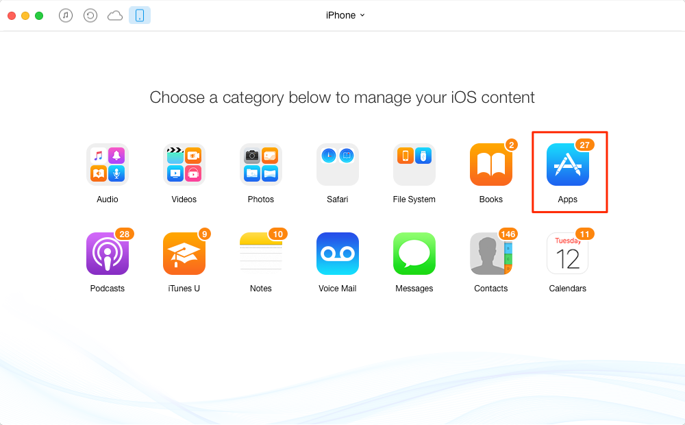 How to Transfer Apps from iPhone/iPad/iPod to Computer with AnyTrans - Step 1