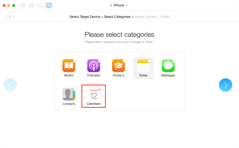 Transfer Calendar from iPhone to iPhone with AnyTrans – Step 3