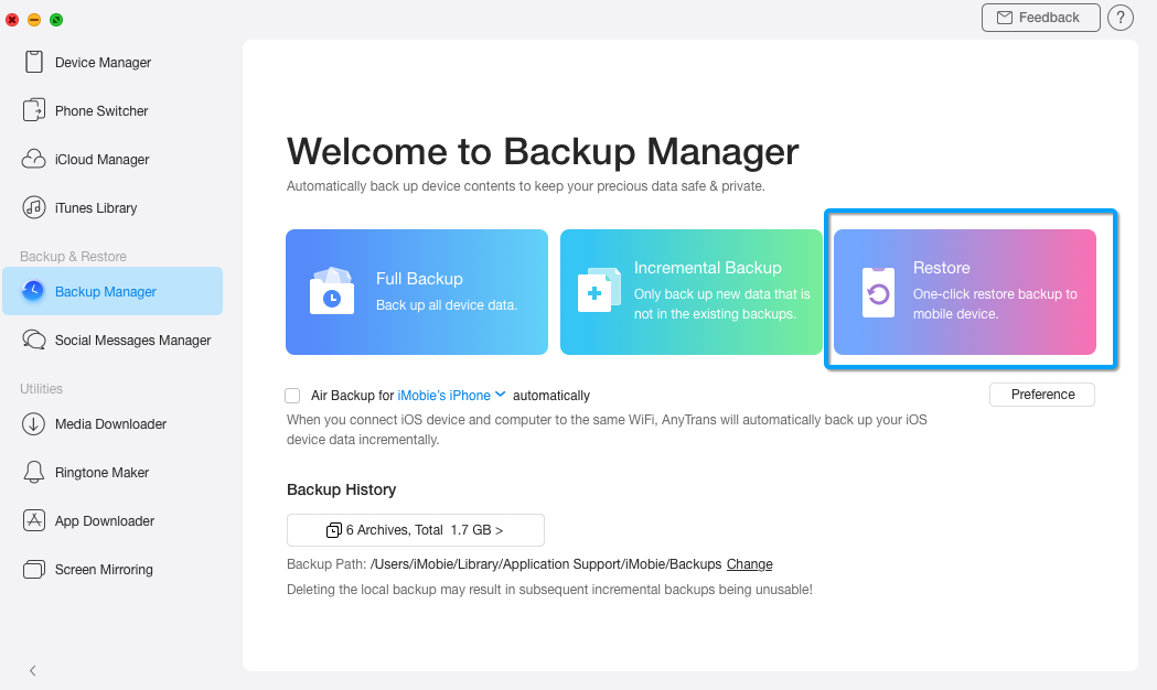 Restore A Backup with AnyTrans for iOS