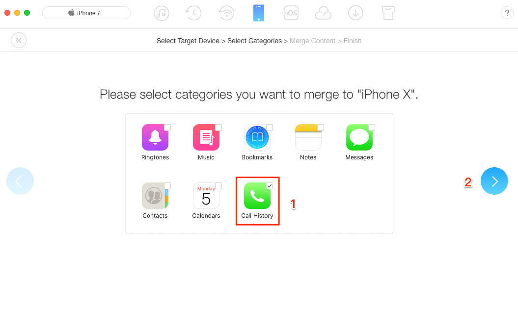 How to Transfer Call Logs from iPhone to iPhone X/iPhone 8 - Step 3