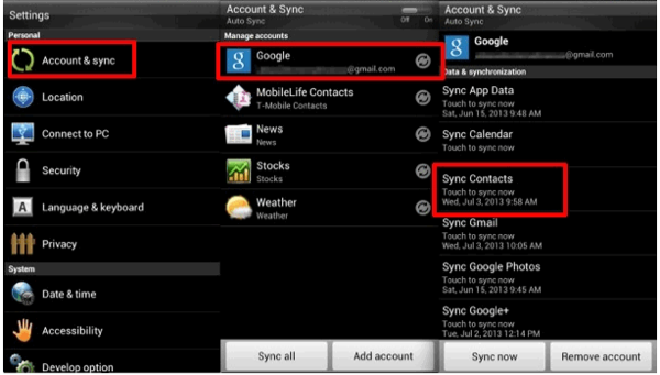 Transfer Contacts from Android to Android via Google Account