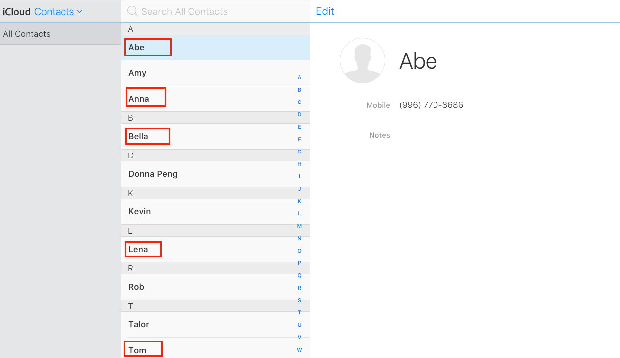 Check Transferred Contacts in iCloud