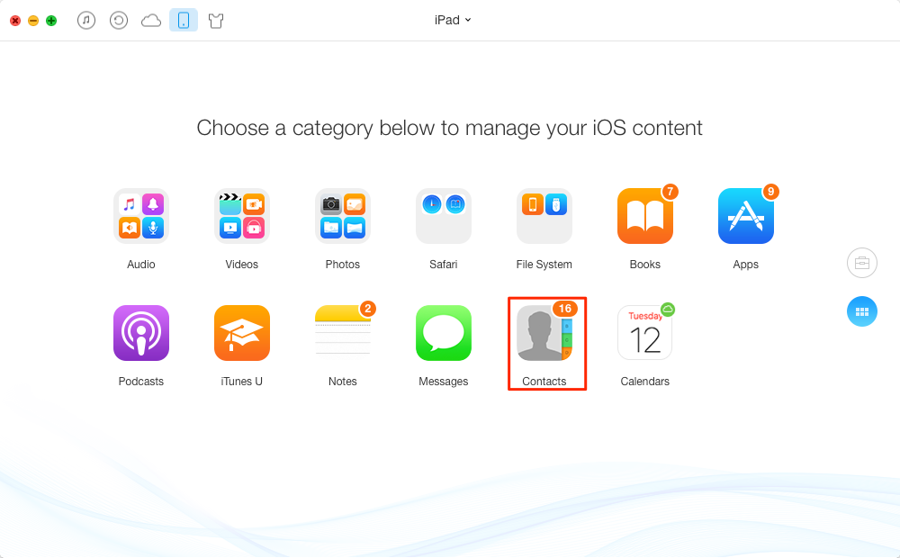 Transfer iPad Contacts to iPhone or iPod touch – Step 3