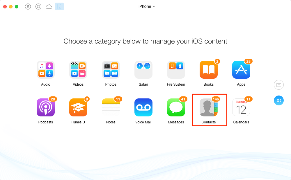 How to Transfer Contacts from iPhone 4s to iPhone 6 Plus – Step 2