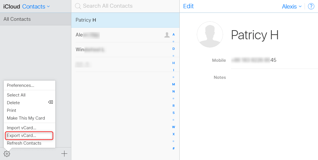 How to Transfer Contacts from iPhone to Computer with iCloud - Step 3