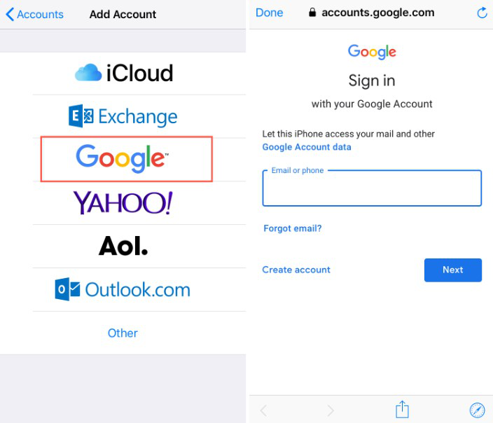 How to Transfer Contacts from iPhone to Huawei via Google Account - Step 2