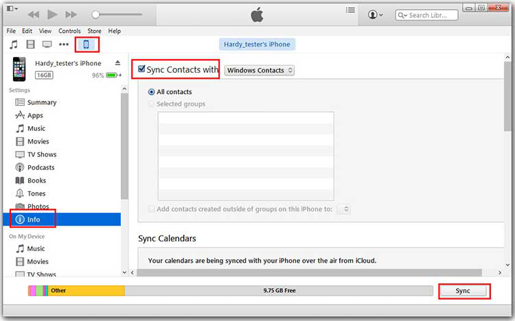 How to Transfer Contacts from iPhone to Huawei via iTunes - Step 2
