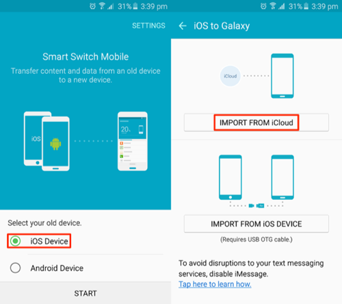 How to Transfer Contacts from iPhone to Samsung - Step 2