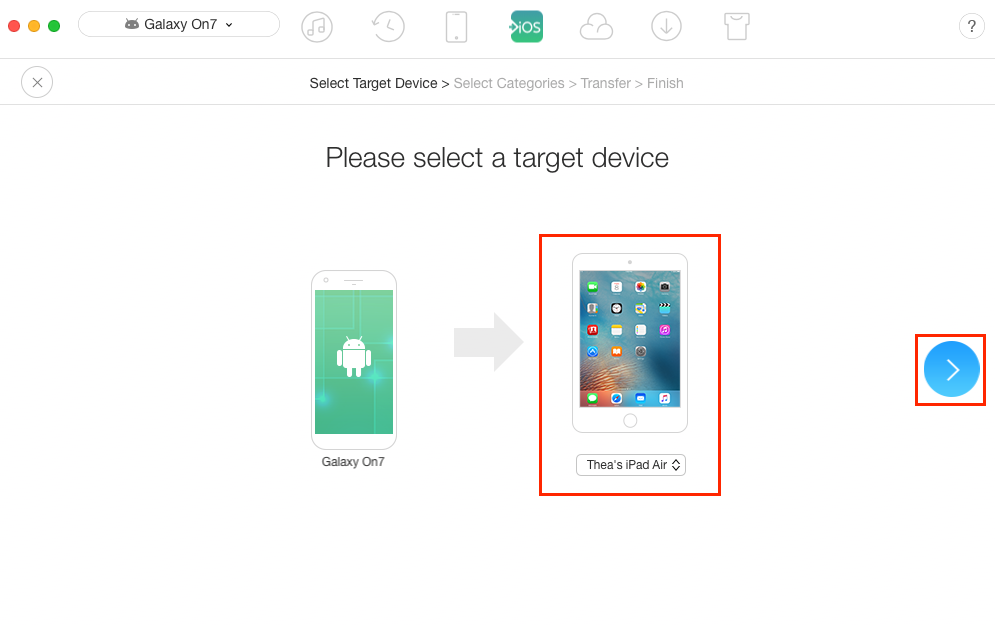 How to Transfer Contacts from Samsung to iPad – Step 2