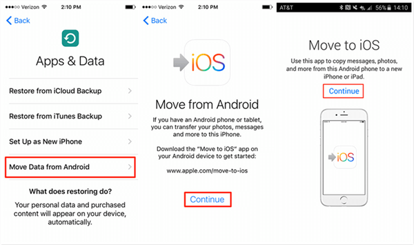Move Data from Android to iPhone with Move to iOS