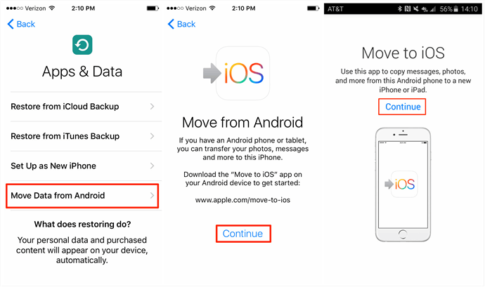 Transfer Data from Android to iPhone with Move to iOS