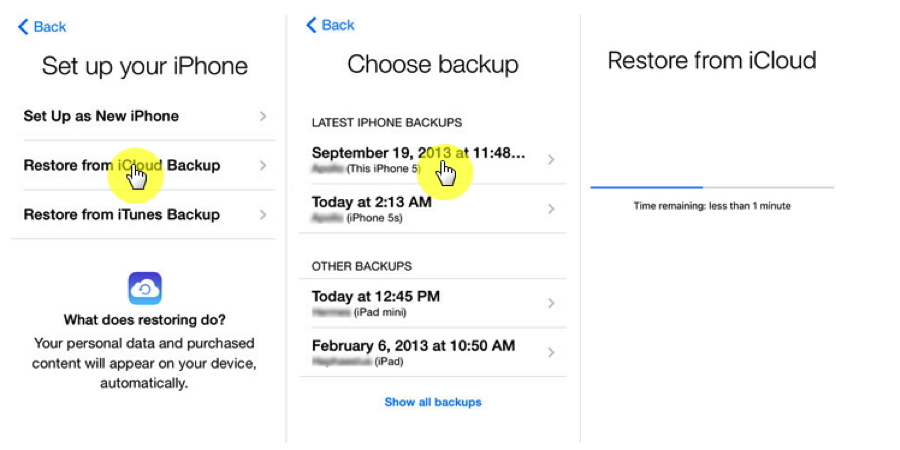 How to Transfer Data from iOS to iOS with iCloud – Step 3
