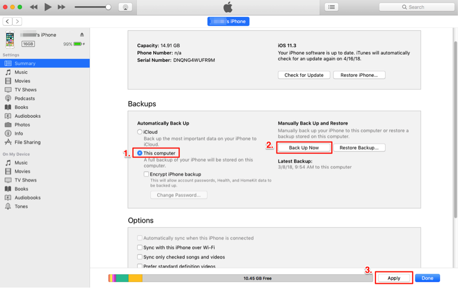 How to Transfer Data from iPhone to iPhone with iTunes – Step 2