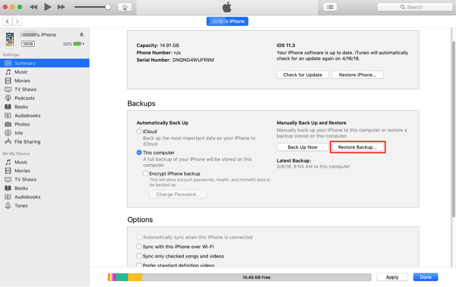 How to Transfer Data from iPhone to iPhone with iTunes – Step 4