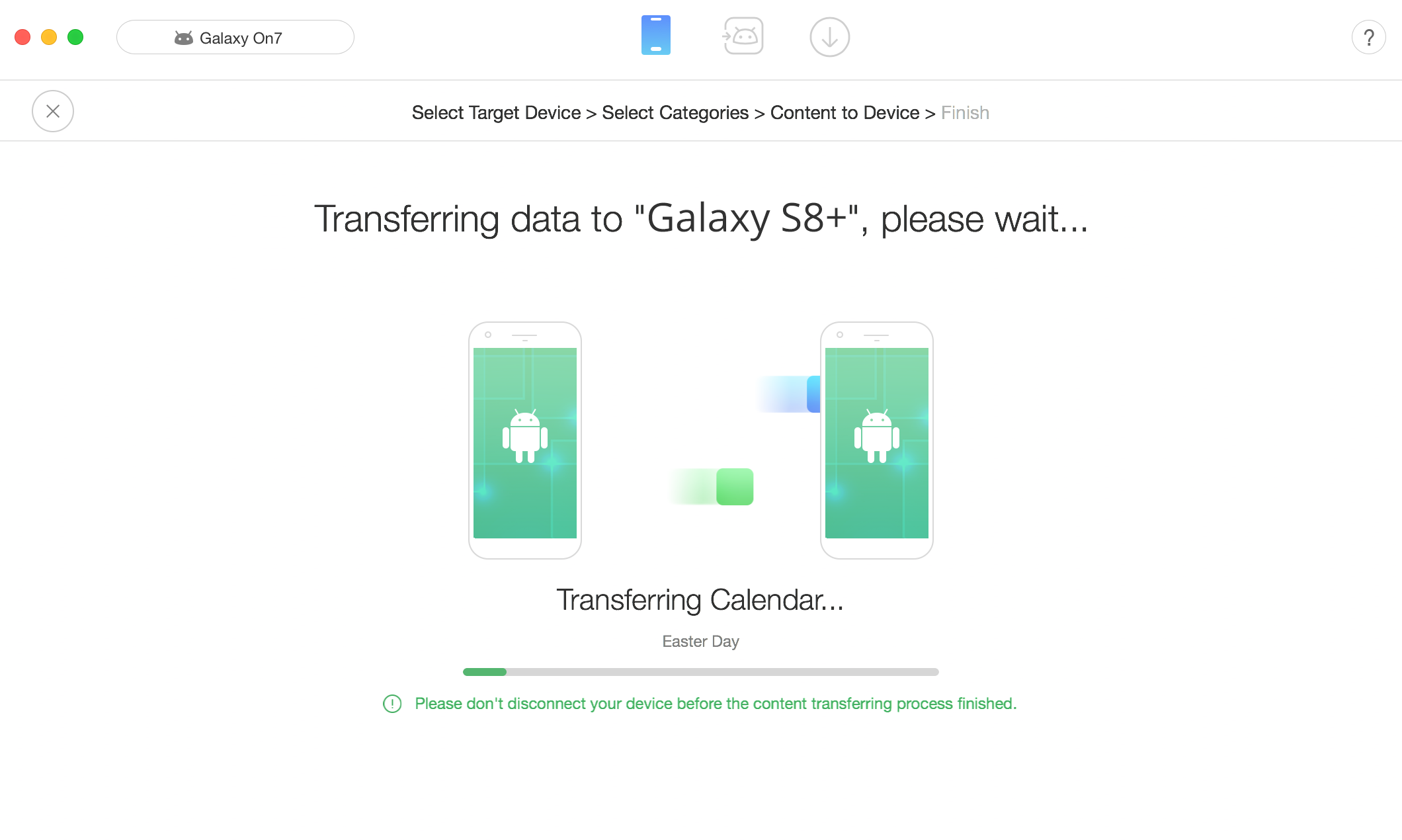 Transfer Data from Samsung to Samsung Galaxy S9 in 1Click – Step 2