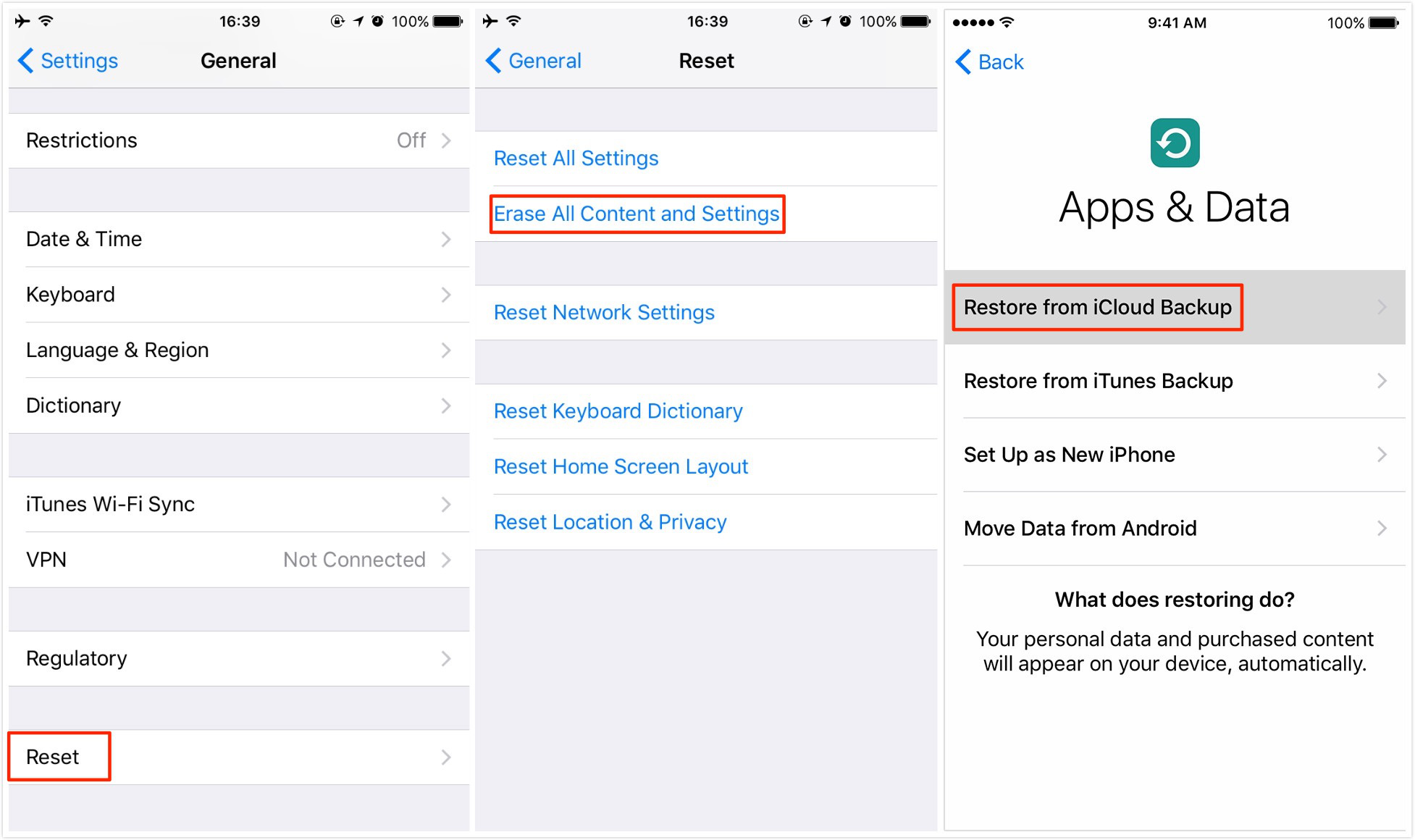 Transfer Data Between Two iPhone with iCloud Backup – Step 2