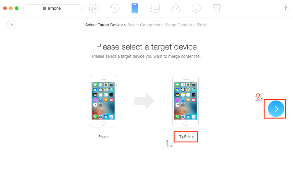 Transfer Data from One iPhone to Another in 1 Click - Step 3