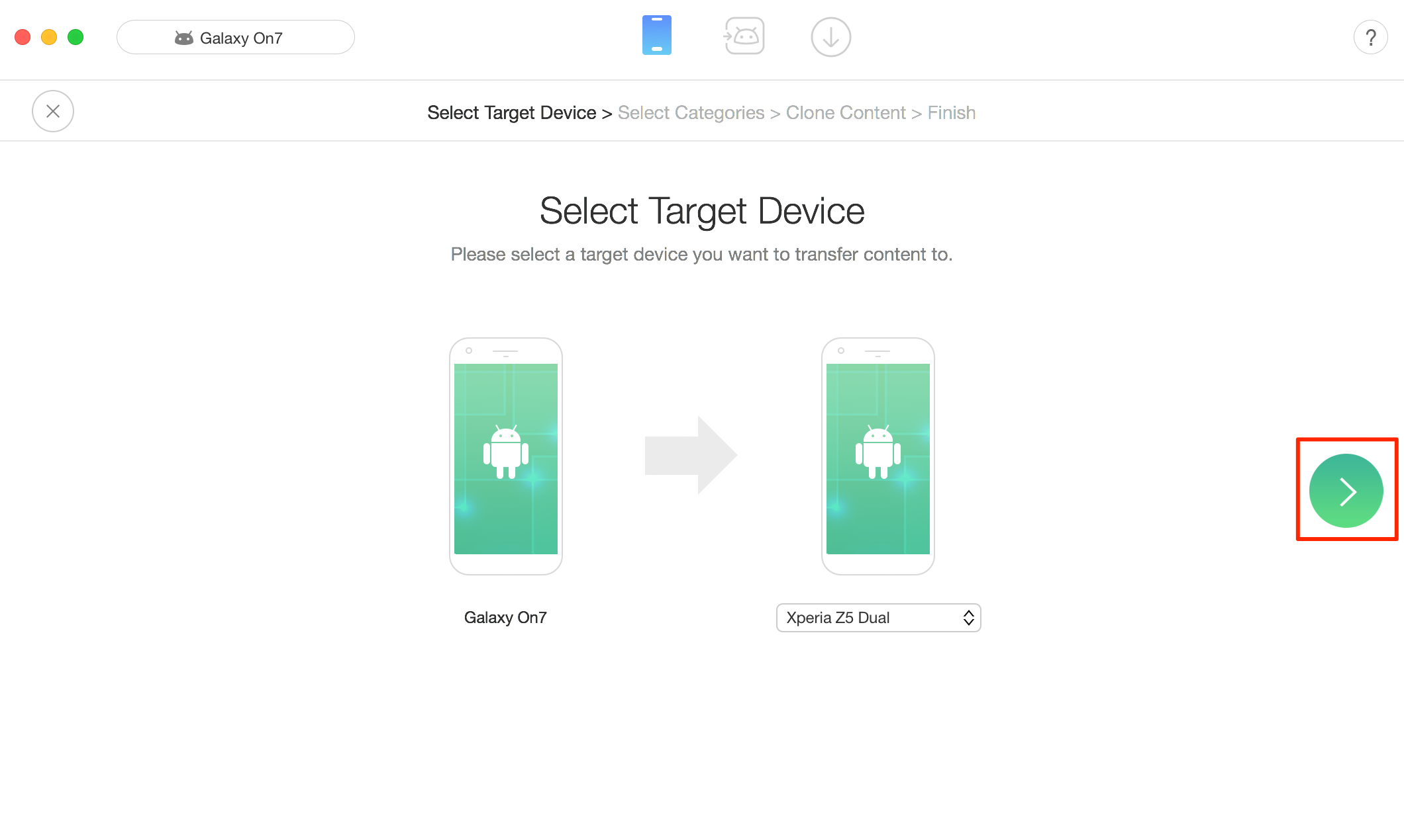 Transfer Files Between Android Devices – Step 2