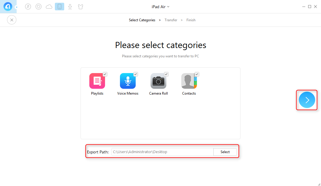 How to Transfer Files from iPad Air to Computer with AnyTrans - Step 3