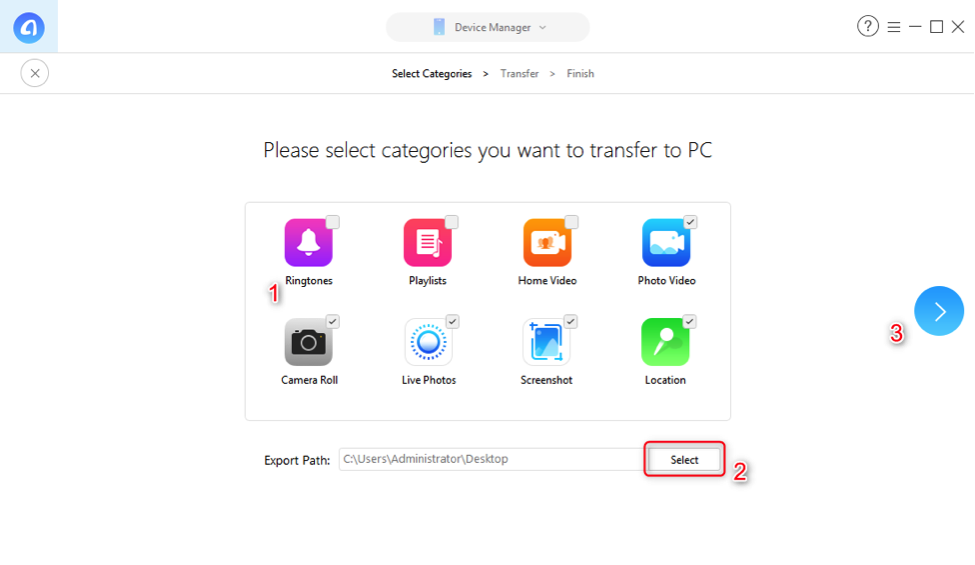 How to Transfer Files from iPhone to PC via USB with AnyTrans for iOS - Step 2