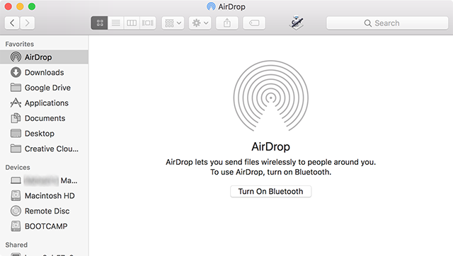 Enable AirDrop on the Mac