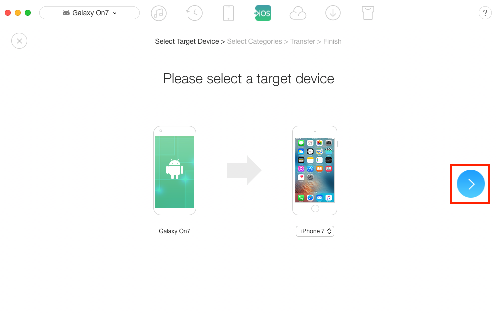 How to Transfer Files from Samsung to iPhone – Step 2