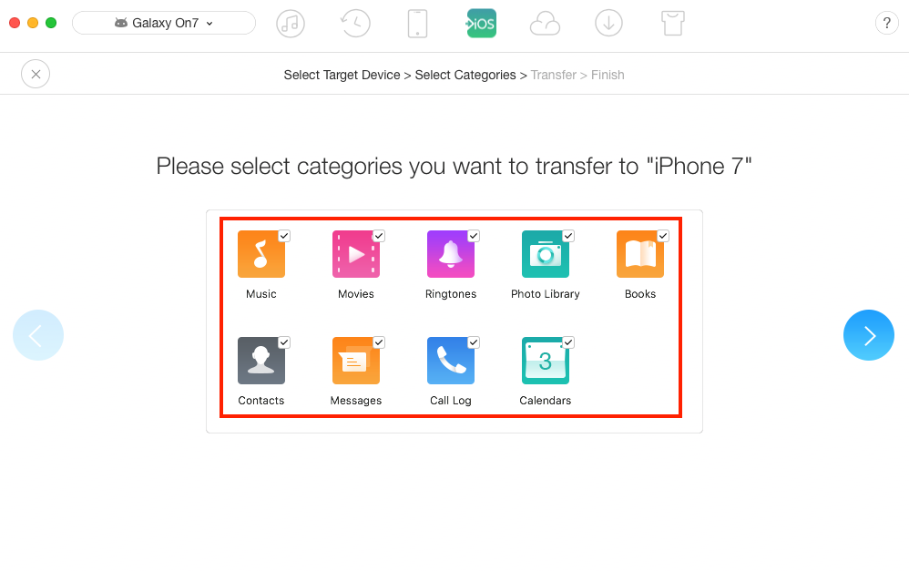 Transfer Files from Samsung to iPhone – Step 3