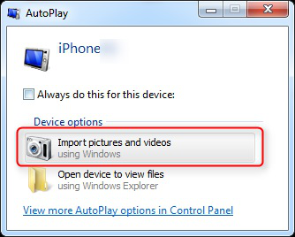 Transfer Files to PC - AutoPlay