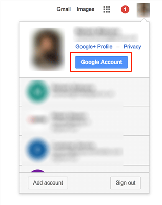 Choose Google Account on the Google homepage
