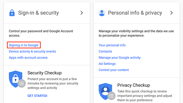 Access Google sign-in options