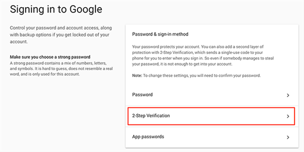 Access the 2-step verification settings panel