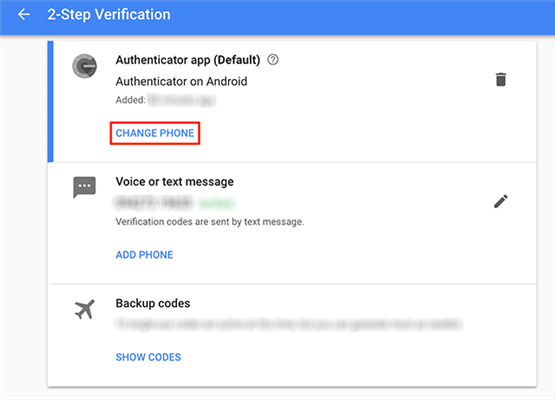 Change Phone for the Google Authenticator app