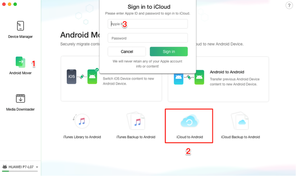 Use the iCloud to Android Feature to Transfer iCloud Contacts to Android